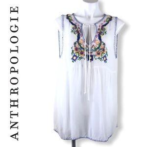 Anthropologie Chloe Oliver Floral Embroidered Top